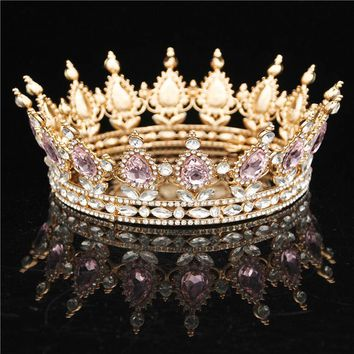 Baroque Queen King Bride Tiara Crown For Women Headdress Prom Sparkling Tiaras and Crowns Wedding Hair Jewelry Accessories