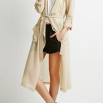 Beige Long Sleeve Trench Coat