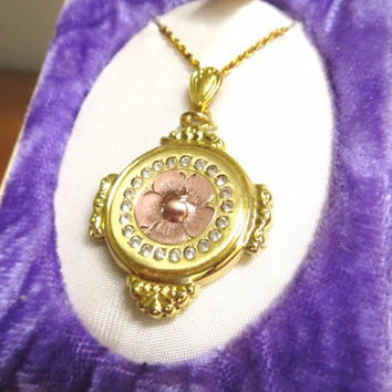 Antique Vintage 1/20 10KT Gold Filled Rose Gold Locket, Rhinestone Locket, Floral New Old Stock Locket, Styled by Bliss, Large Locket