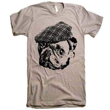 Pug in a Newsboy Cap T Shirt - Dog Lover Pug Life Pugs Not Drugs Funny Pug Tshirt - Men Women Kids Gift Ideas Present Pugs Cute Pug Face Tee