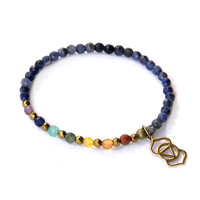 Third Eye Chakra Delicate Bracelet, with Chakra Gemstones and Sodalite