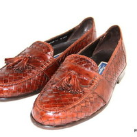 COLE HAAN BRAGANO Loafers Tassel Dark Brown Italy Woven Mens Shoes Size 11 W