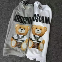 Moschino bear print long sleeve gray&white sweater top H-spring-CLFSGCJDZ White