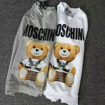 Moschino bear print long sleeve gray&white sweater top H-spring-CLFSGCJDZ