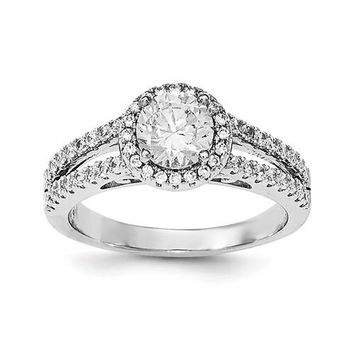 Sterling Silver CZ Round Double Shank Halo Ring
