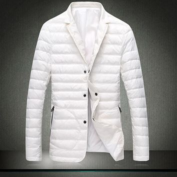 Lightweight Men warm Jackets mens suit jacket Slim warm blazer jacket white coat turn warm collar Ultralight Parka Men