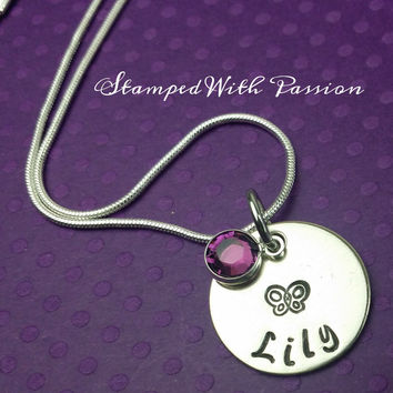 Personalized Butterfly Necklace with birtstone