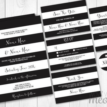 Wedding Invitations Set Template Rustic Black White Stripe Package Printable Invites Save The Date INSTANT DOWNLOAD Tag Personalize Editable