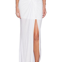 White Ruched Bodycon Slit High Waist Maxi Skirt