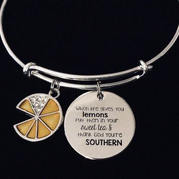 Southern Sweet Tea When Life Gives You Lemons Silver Expandable Charm Bracelet Adjustable Bangle One Size Fits All Gift
