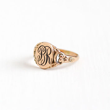 Vintage BR Signet Ring - 10k Rosy Yellow Gold Filled Size 7 Early 1900s Edwardian Monogrammed Initial Letters Swirled Art Nouveau Jewelry