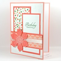 Birthday Greetings Featuring Flower And Confetti Paper Handmade Card