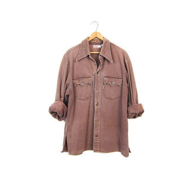 Vintage BROWN Levis Shirt 70s Denim Shirt Faded Jean Shirt 1970s Boyfriend Button Up Work Shirt Western Grunge Shirt Vintage Men's Large