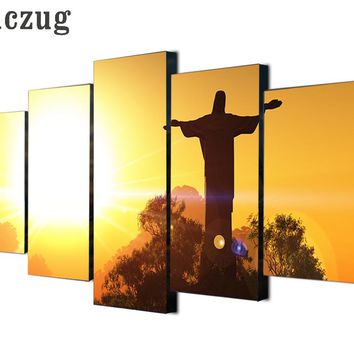 5 Pieces Canvas Art Jesus Statue In Sunset Painting