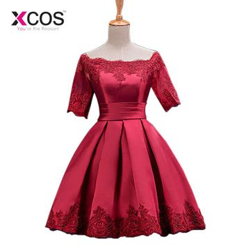 Cocktail Dresses Jersey Women Girls Graduation Dress Homecoming Embroidery Above Knee Party A-line Evening Dress Short Sleeves