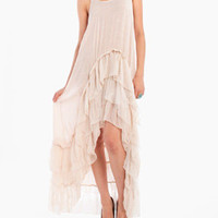 Scrunch Pleated Long Tail Dress in Cream