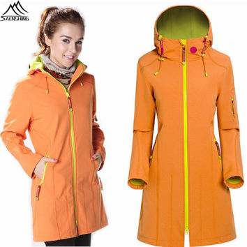 2016 Winter Spring Fleece Thermal Softshell Jacket Women Girls Windproof Long Windbreaker Female Camping Hiking Trekking Coats