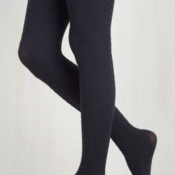 Vintage Inspired Knit's Warm in Here Tights in Navy Size OS by ModCloth
