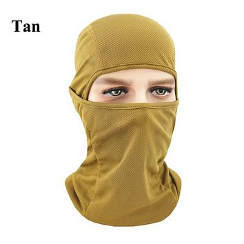 TAN Winter Outdoor Ski Bibs Snowboard Skiing Full Face Mask Cycling Sport Headgear Tactical Paintball Cap Hat Snowbile Balaclava