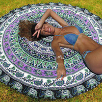Indian Mandala Round Tapestry Wall Hanging Beach Throw Towel Yoga Mat Boho Decor 150cm