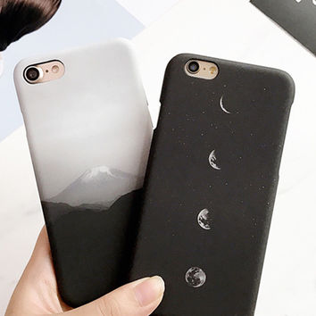 Funny Cartoon Mount Fuji Case For iphone7 Case For iphone 7 6 6s Plus Fashion Eclipse of the Moon Hard PC Phone Cases Fundas Hot -0315