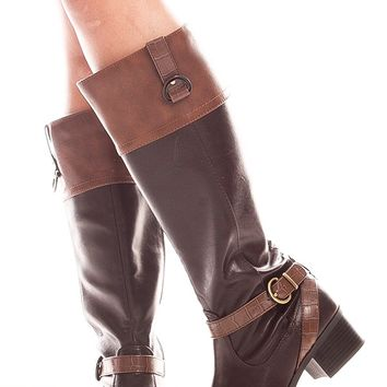 BROWN FAUX LEATHER KNEE HIGH SIDE BUCKLE BOOTS