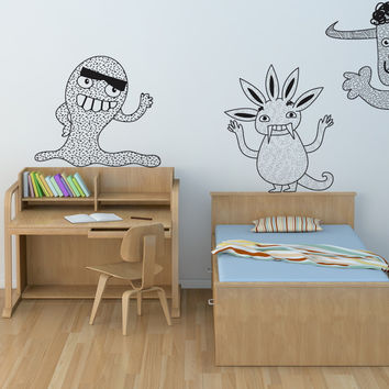 Vinyl Wall Decal Sticker Monster Trio #OS_DC275