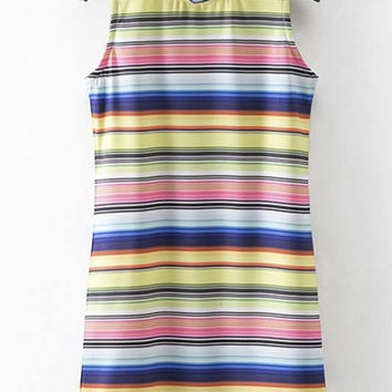 Stand Up Collar Striped Sleeveless Shift Dress