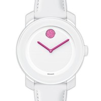 Movado 'Bold' Crystal Dot Leather Strap Watch, 36mm