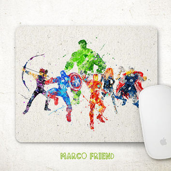 Avengers Mouse Pad, Superhero Watercolor Art, Mousepad, Office Decor, Holiday Gifts, Art Print, Desk Decorations, Avengers Accessories