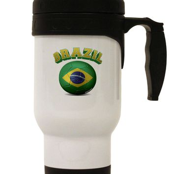 Soccer Ball Flag - Brazil Stainless Steel 14oz Travel Mug