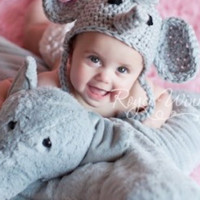 Elephant Crochet Knit Baby Newborn Hat Photo Prop - CCA09