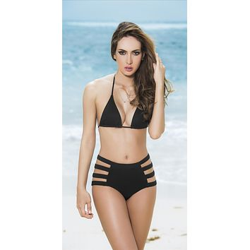 Mapale Swim Black Strappy High Waist Brazilian Cut Bottom Bikini Swimwear Separates (Many colors/prints available)