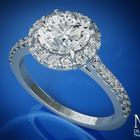 Engagement Ring - Round Diamond Halo Cathedral Engagement Ring with pave diamond band 0.32 tcw. In 14K White Gold - ES433WG