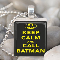 Scrabble Tile Pendant Keep Calm And Call Batman Pendant Batman Necklace With Silver Ball Chain (A2857)