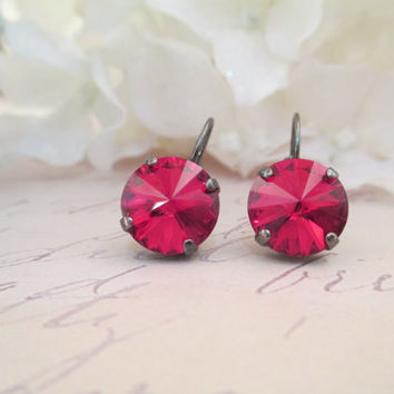 swarovski earrings RED MAGMA, round, 12mm, rivoli,  hematite, designer inspired, hand set stones, popular