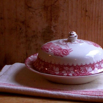 Vintage Red Transferware Butter Dish with Lid - Wood and Sons, Burslem, Staffordshire, England - Round Shape - Transfer Ware - Cottage Decor