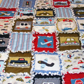 Baby Boy Rag Quilt, Crib Quilt, Nursery Blanket, Modern Rag Quilt, Vroom , 35 X 41. Blue, Red, Green, Handmade, Ready to Ship
