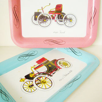 Sweet Vintage Car trays, Tin, Painted, Small, Ford, Oldsmobile, Collectible, Candy Pink, Robin's Egg Blue,