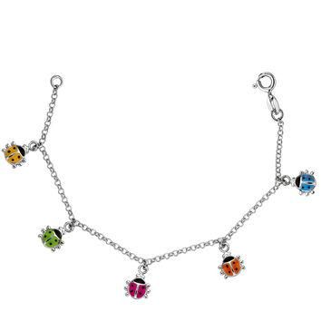 Baby Bracelet With Colorful Dangling Ladybug Charms In Sterling Silver - 6 Inches