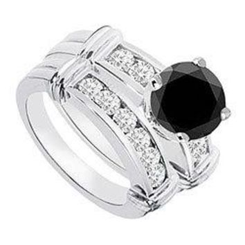 Black & White Diamond Engagement Ring with Wedding Band Sets 14K White Gold  0.90 CT TDW