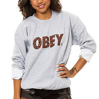 Obey Sweatshirt Cheetah Font Crewneck in Sports Grey