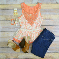 Orange Blossoms Lace Peplum Top