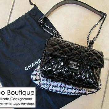 Authentic CHANEL Black Patent and Tweed Mini Classic Flap Bag *Limited Edition*