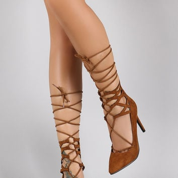 Breckelle Faux Suede Lattice Sides Lace Up Pointy Toe Pump