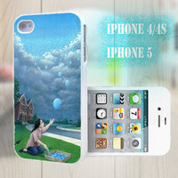 unique iphone case, i phone 4 4s 5 case,cool cute iphone4 iphone4s 5 case,stylish plastic rubber cases cover, funny girl balloon  blue p995