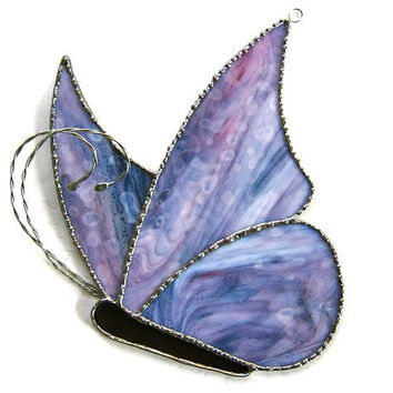 Purple butterfly stained glass suncatcher handcrafted