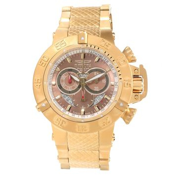 Invicta 14455 Men's Subaqua Noma III Brown Dial Gold Steel Bracelet Chrono Watch