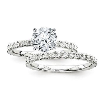 Certified 2.70 Ct. Round Diamond Bridal Engagement Ring Set with Side Stones in 14K White Gold