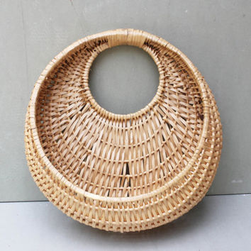 Vintage Round Hanging Wall Basket - Woven Blond Wood